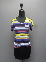 SPLENDID Yellow Blue Multi-Colored Striped Shirt W Pocket Size 12 Rayon ... - $29.69
