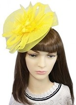 YSJOY Womens Flower Veil Mesh Bead Fascinators Bow Feather Church Derby... - $34.16