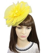 YSJOY Womens Flower Veil Mesh Bead Fascinators Bow Feather Church Derby... - $34.16