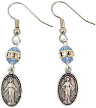 JEWELRY BLUE ACRYLIC BEAD FISH HOOK EARRINGS WITH DANGLE MIRACULOUS MEDA... - $43.61