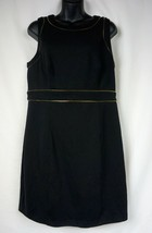 ELLE Little Black Dress w/Gold Accents Zipper Design, Sleeveless - Size 12 - $15.44