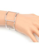 UE- Silver Tone Designer Bangle Bracelet Cuff With Contemporary Geometri... - $12.99