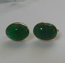 Vintage Signed Bal Ron 14k Gold-Filled Green Carved Scarab Screw-back Ea... - $55.00