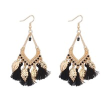 Bohemian ethnic romantic Su metal leaf earrings big European and America... - $7.20