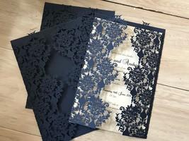 Dark Blue Laser Cut Wedding Invitation,50pcs Invitation Cards,Invite - $64.00