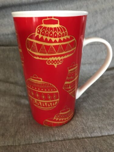 Primary image for 2015 STARBUCKS CHRISTMAS COLLECTION 16 OZ TALL COFFEE MUG ORNAMENTS RED & GOLD
