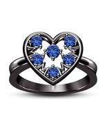 Heart Design Engagement Ring Blue Sapphire Stones 14k Black Gold Over 92... - $74.99