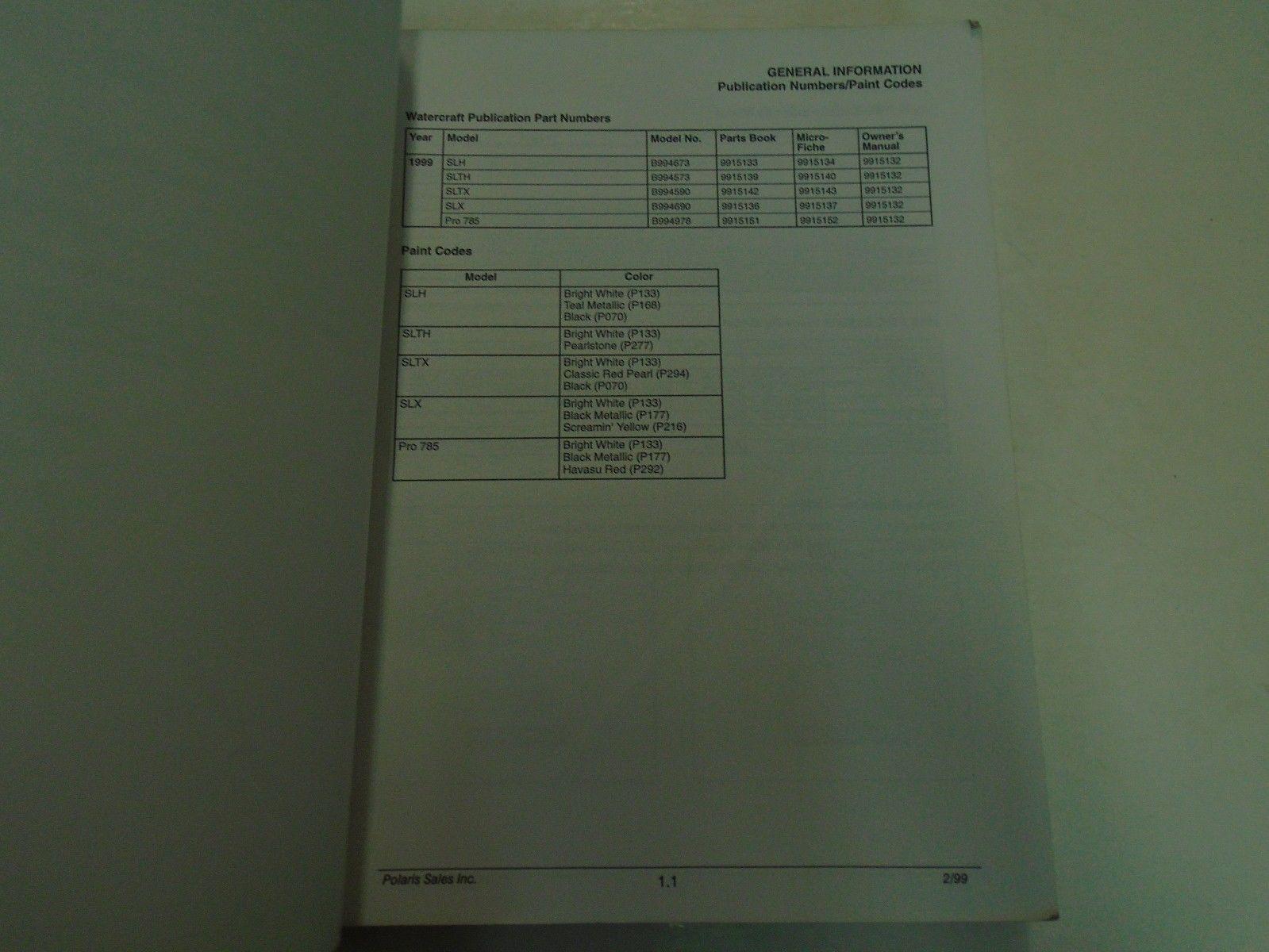 ... 1999 Polaris SLH SLTH SLTX PRO 785 Service Repair Shop Manual FACTORY  OEM BOOK ...