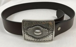 Vintage Women's Brown Leather Belt with Silver Southwestern Buckle, 1995 - $14.24
