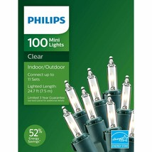 Philips 100ct Christmas Incandescent Smooth Mini String Lights Clear GW