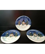 Set of 3 Holiday Season by Tabletops Unlimited Snowman Dinner Plates 10.... - $19.79