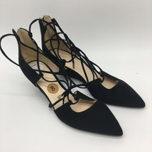 Marc Fisher Wedge Sandal Black Suede Tie Up Leg, Size 8.0 - $16.83