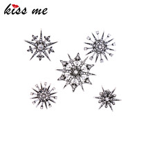 KISS ME 5pcs/set Geometric Crystal Brooches for Women Charming Brand Jewelry Acc - $17.57