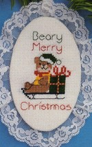 Vintage Cross Stitch Kit Beary Merry Xmas Lace Ornament Designs Needle C... - $14.59