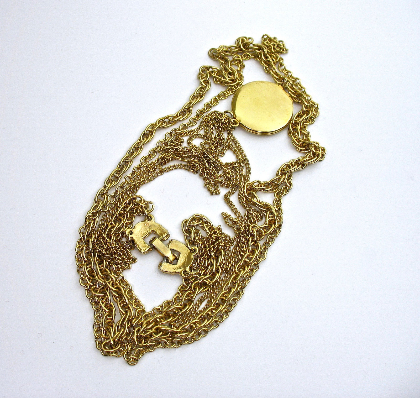 """Multi Chain Locket Necklace, Embossed Locket, Five Chains, Gold Tone, 26"""" Long,"""