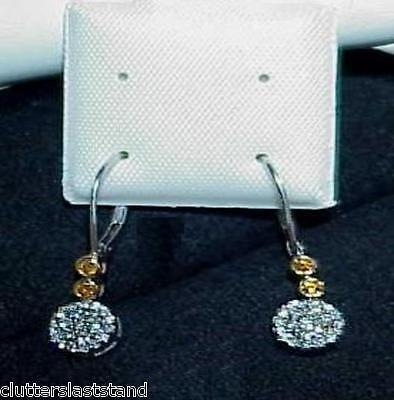Primary image for 14K .33ct Fancy Yellow Diamond Dangle Earrings New Tag $1600. White Gold Lovely