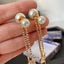 AUTH Christian Dior 2020 GOLD CRYSTAL J'ADIOR DANGLE STAR PEARL EARRINGS  image 9