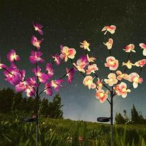 2X Solar Fairy Garden LED Lights Orchid Flowers Stake Lamp Yard Outdoor ... - $18.00