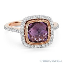2.69ct Amethyst Gem & Diamond Pave Halo Right-Hand Ring in 14k Rose & Wh... - £679.75 GBP