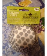 Silver Heart Paper Baking Cups Easy Release 75 Pcs Brand New Sealed Pack... - $7.99