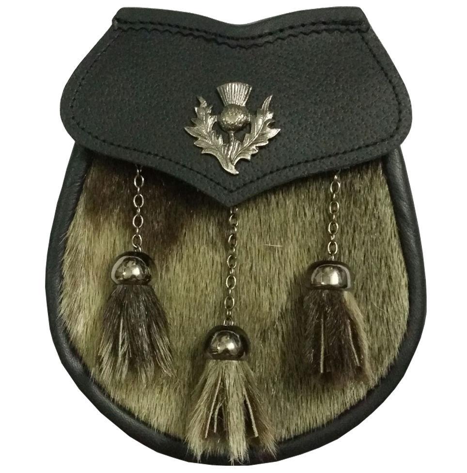 HS Mens Scottish Leather Kilt Sporran Black Bovine Thistle Cantle Kilt Sporrans