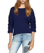 Sanctuary Women's Blue Leona Ruffled Sleeve Crew Neck Boho Top Size XS  $79 - £17.66 GBP