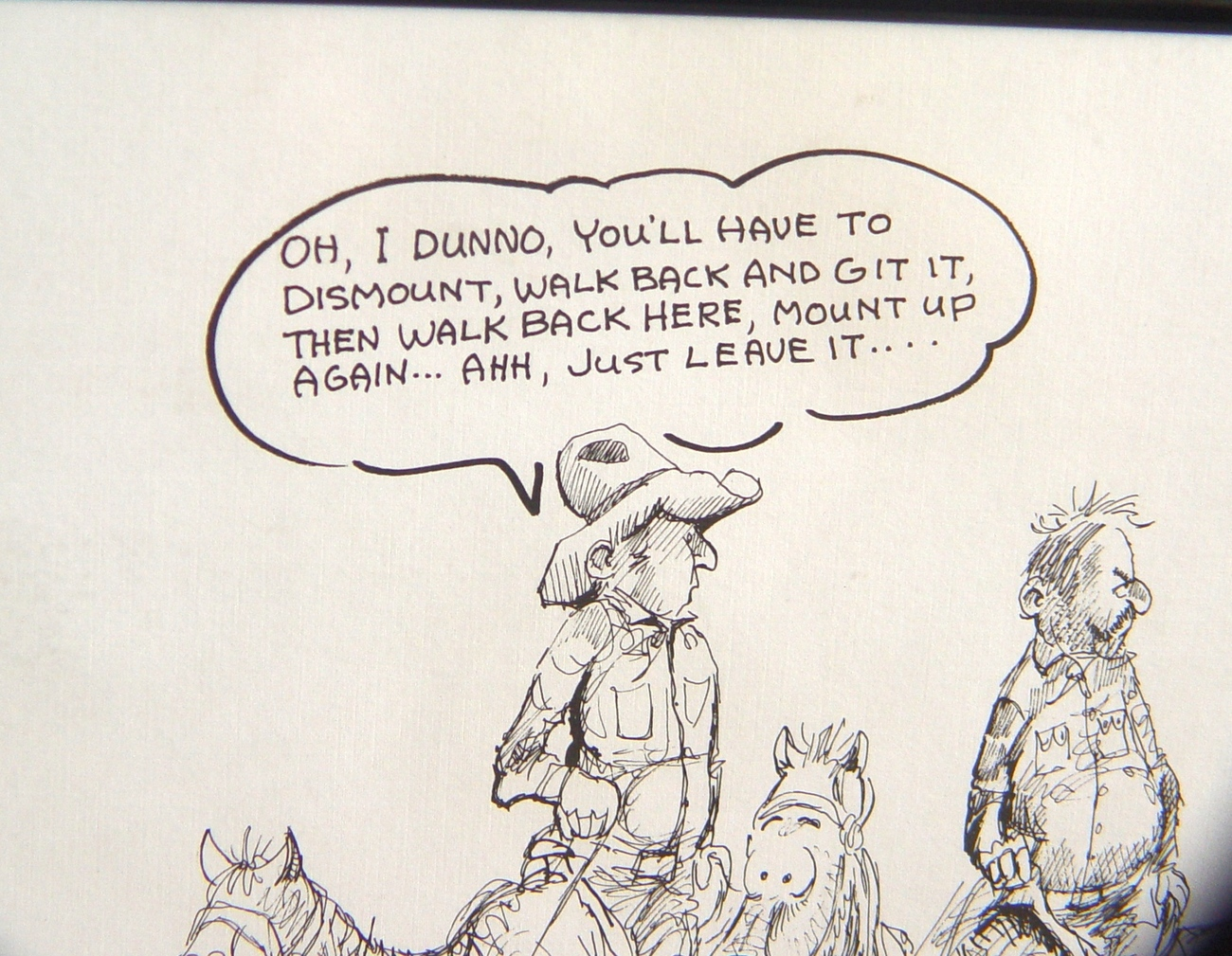 """Framed Jim Snook Cartoon """"Hats Off"""" For Ranchers, Cowboys, Saloon Keepers"""