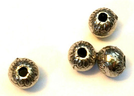 ORNATE ROUND FINE PEWTER BEAD - 7x7x7mm Hole 2mm image 2