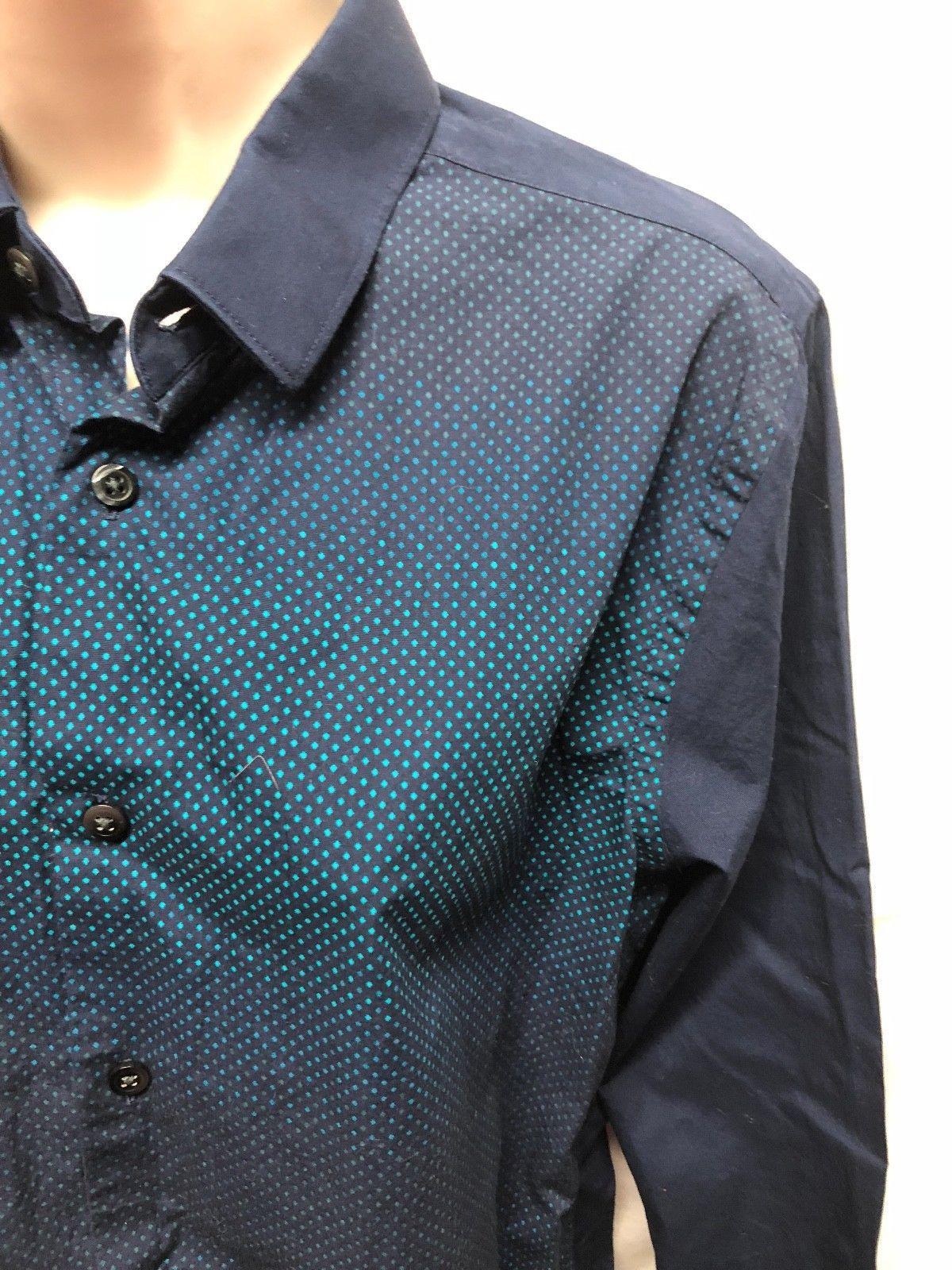 Express Womens Fitted Sz S Button Up Shirt Blue Print Shirt 100% Cotton