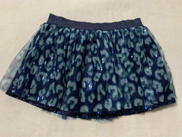 Justice 14 Blue Leopard Tulle Sequin Skort Skirt Girls Metallic Shimmer ... - $8.99