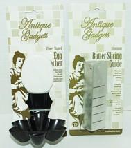 2 LOT - BUTTER SLICER + SINGLE EGG POACHER ANTIQUE GADGETS KITCHEN TOOLS... - $11.35 CAD