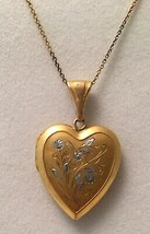 Vintage Gold Filled Locket Silver Flowers on Sterling Silver Vermeil Chain  - $58.41