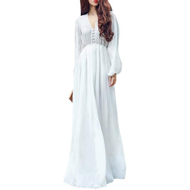 S for less maxi dress white large white boho empire waist women chiffon long dress 1233026973727