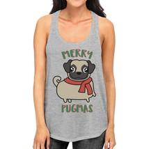 Merry Pugmas Pug Womens Grey Tank Top - $14.99+