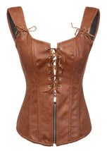 Brown Leather Shoulder Straps Goth Steampunk Waist Training Overbust Corset Top - $89.09+