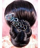 "Austrian Crystal Hair Claw Clip ""Bella"" Teal Blue free organza bag - $16.75"
