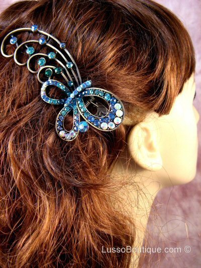 "Austrian Crystal Hair Claw Clip ""Bella"" Teal Blue free organza bag"