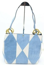 NWT Tory Burch Farrah Patchwork Blue White Suede Tote Shoulder Bag New $658 - $348.00