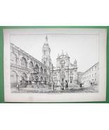 ARCHITECTURE PRINT 1850s : Italy Piazza at Loretto Loreto - $37.13