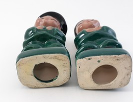 Pair of Asian Children Figurines Dressed in Green and Black Japan image 3
