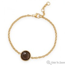 Gold Chain Bracelet with Faceted Smoky Quartz - $124.99