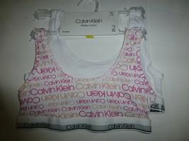 Calvin Klein Girls Multi White 2 pack Cotton Blend Bralettes Medium 7-8 New - $13.85