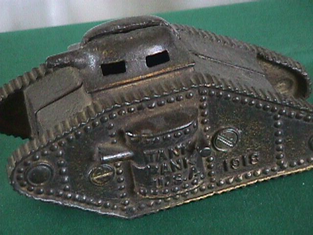 Army tank 1918 Cast Iron Bank Williams Co Vintage 1920