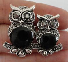 Owl Brooch Metal Stick Back Pin Black owls sitt... - $12.99