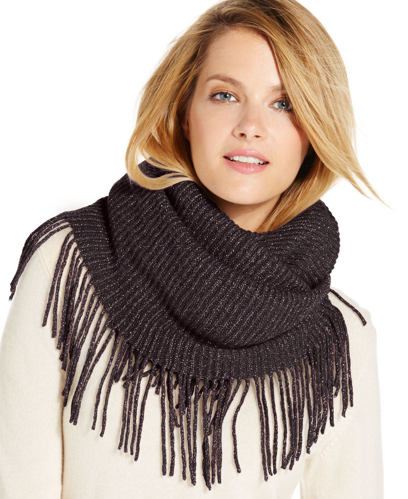 Primary image for New INC International Concepts Fringe & Shine Lurex Womens Loop Tube Scarf Black