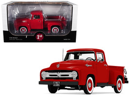 1956 Ford F-100 Pickup Truck High Feature Vermillion Red 1/25 Diecast Model Car  - $83.99