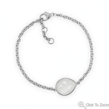 Sterling Silver Chain Bracelet with Faceted Moonstone - $94.99