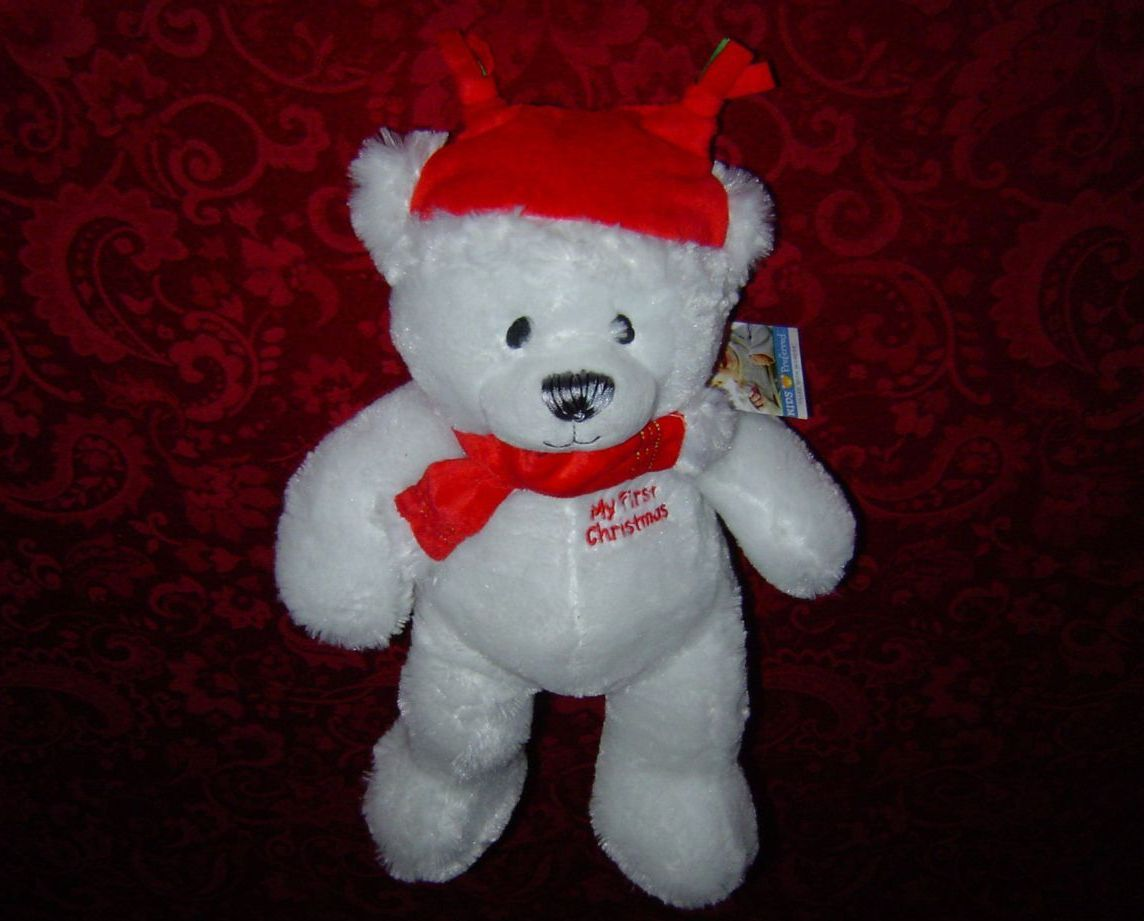 "18"" My First Christmas Bear white plush red scarf and hat Kids Preferred new"