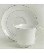"""Footed Cup & Saucer Set Lovelace CROWN VICTORIA Height 3"""" Silver Edge Se... - $12.12"""