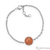 Sterling Silver Chain Bracelet with Faceted Orange Aventurine Stone - $94.95